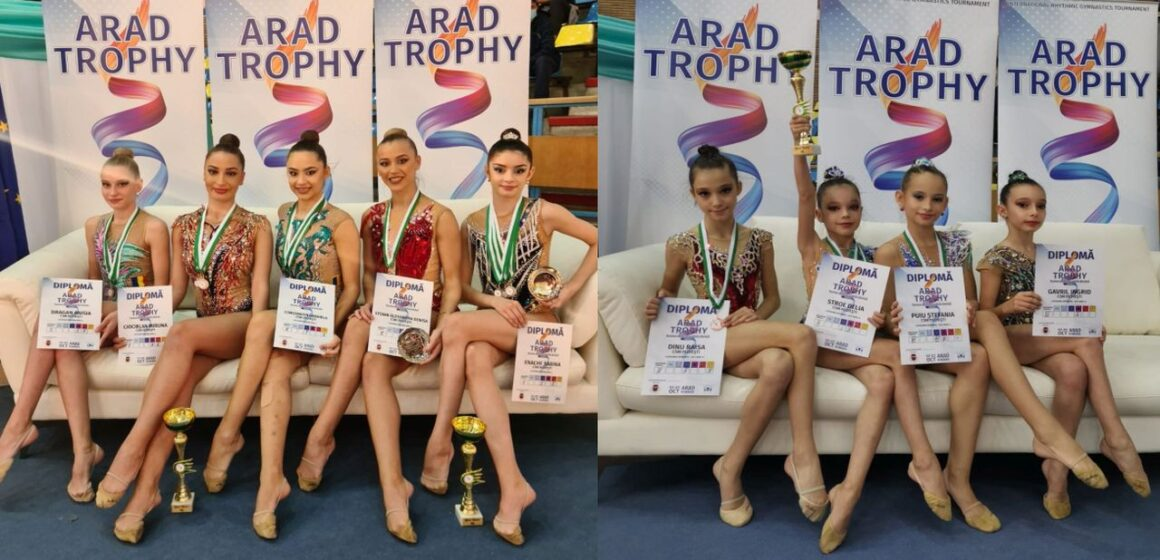 """Sportivele secţiei de gimnastică ritmică, 20 de medalii cucerite la """"Arad Trophy""""!"""